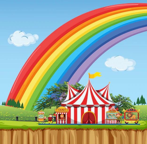 Zirkusszene mit regenbogen am himmel Premium-Vektor