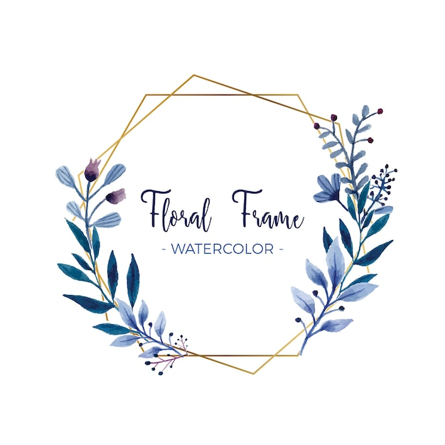 Floral Gold Borders Blue And