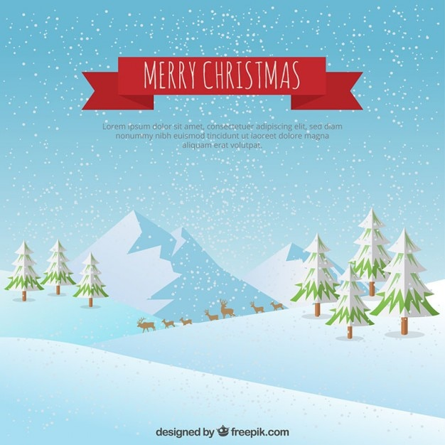 Carto de natal com paisagem do inverno  Baixar vetores