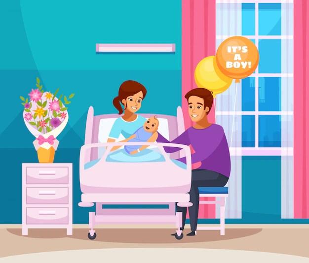 Ilustração de mulher, companheiro e bebê recém-nascido em quarto de hospital