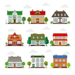 Conjunto de casas bonitas em estilo simples edifício e casa arquitetura e propriedade Vetor Grátis