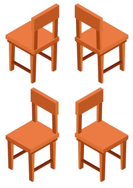 Desenho 3d para cadeiras de madeira  Baixar vetores grtis
