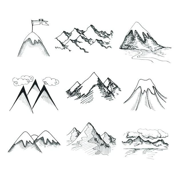 Desenho desenhado, neve, gelo, montanha, topos, decorativo