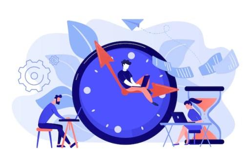Empresários ocupados com laptops se apressam para concluir tarefas em um enorme relógio e ampulheta. prazo, limite de tempo do projeto, ilustração do conceito de datas de vencimento das tarefas Vetor grátis