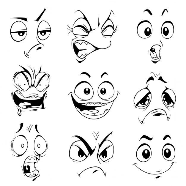 Expressões engraçadas desenhos animados do vetor itens