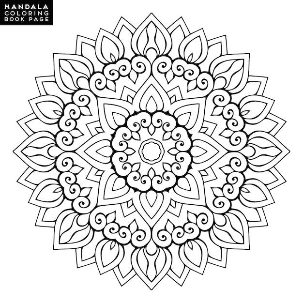 Outline mandala para colorir livro. ornamento redondo