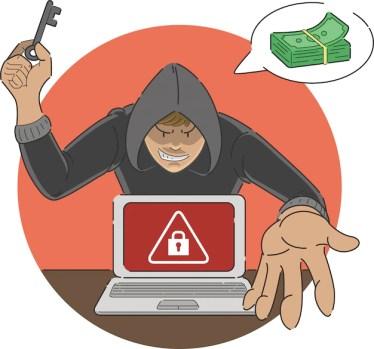 Ransomware, ataque, golpe, caricatura, malware, mostrando, alerta, sinal, tela, laptop, hacker, ameaçar, pagamento dinheiro, desbloquear Vetor Premium
