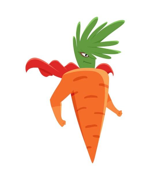 Super-herói cenoura | Vetor Premium