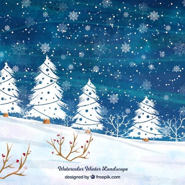 Acquerello paesaggio invernale con alberi  Scaricare vettori gratis