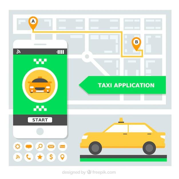 Applicazione mobile per la compagnia di taxi  Scaricare vettori gratis