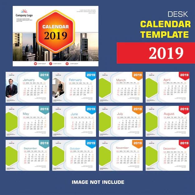 Design Modello Di Calendario Da Tavolo 2019 Scaricare