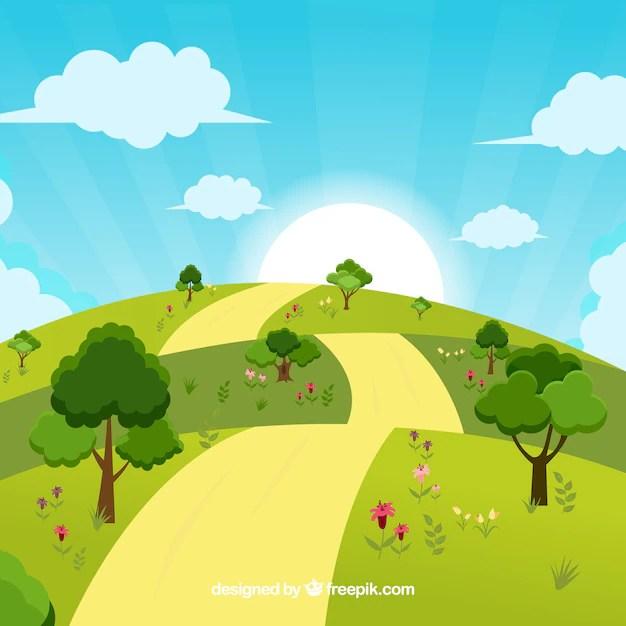 Disegno di sfondo paesaggio soleggiato  Scaricare vettori gratis