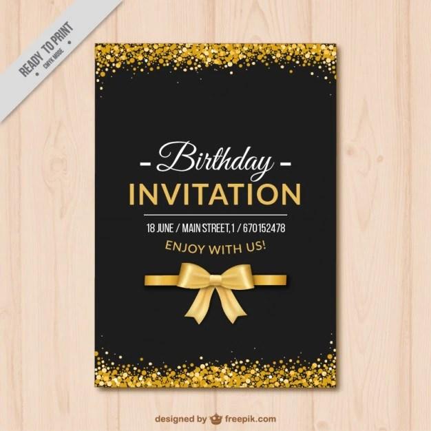 Elegante Invito Compleanno Con Dettagli Dorati Scaricare