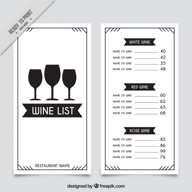 Modello di carta dei vini con tre bicchieri  Scaricare