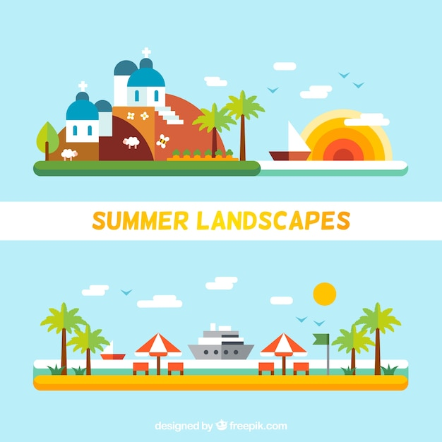 Paesaggi estivi in design piatto  Scaricare vettori gratis