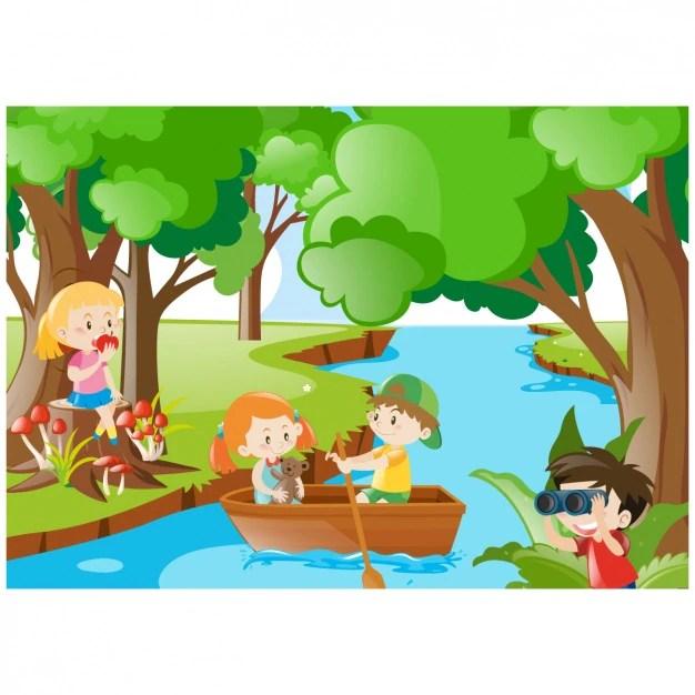 Paesaggio della giungla con i bambini  Scaricare vettori gratis