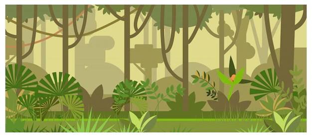 Paesaggio della giungla con lillustrazione degli alberi e delle piante  Scaricare vettori gratis