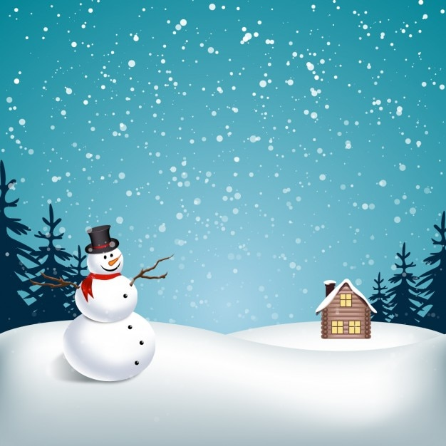Paesaggio innevato con il pupazzo di neve  Scaricare vettori gratis