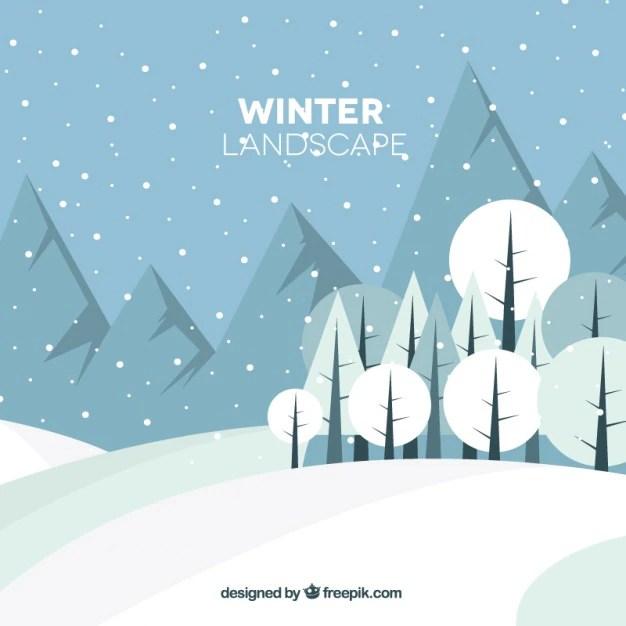 Paesaggio invernale con le montagne e gli alberi in stile piatta  Scaricare vettori gratis