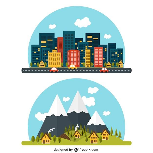 Paesaggio rurale e urbano  Scaricare vettori gratis