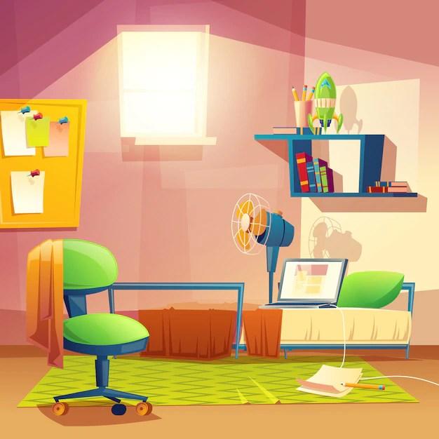 Piccola stanza per studenti camera da letto dei cartoni
