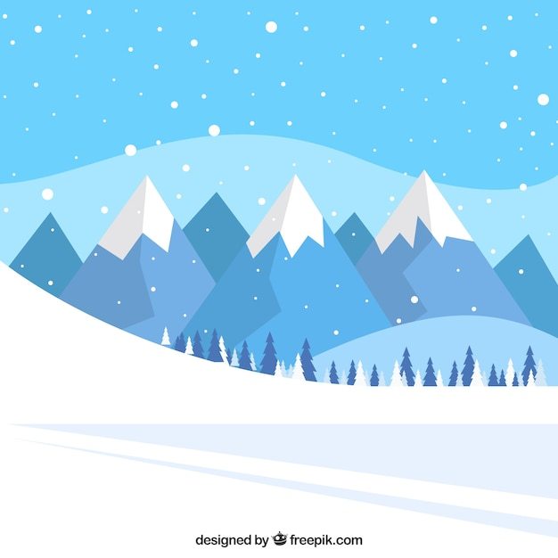 Sfondo Paesaggio di pista neve e le montagne  Scaricare vettori gratis