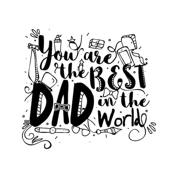 Tu sei il miglior papà del mondo, doodle illustrazioni