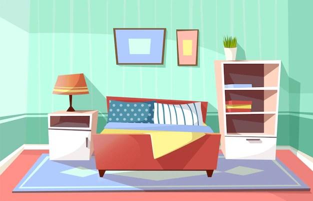 Cartoon slaapkamer interieur achtergrond sjabloon