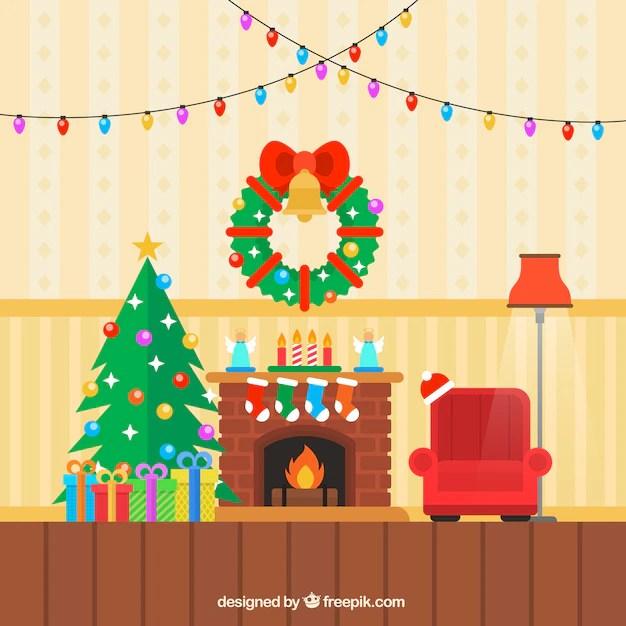 Gekleurde kerst woonkamer Vector  Gratis Download