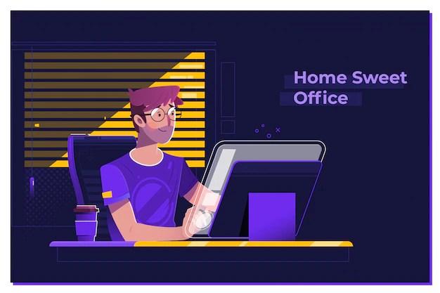 Jonge man aan het werk op moderne loft kantoor 's nachts Premium Vector