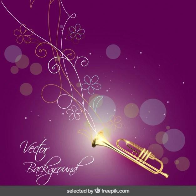 Muziek achtergrond met trompet en bloemen Vector  Gratis