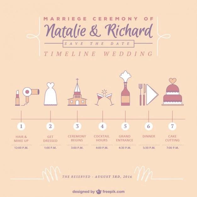 Schattige tijdlijn bruiloft Vector  Gratis Download