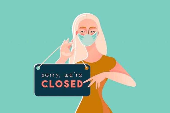 Sorry, we zijn gesloten covid-19-quarantaine van de ziekte van coronavirus  2019   Premium Vector