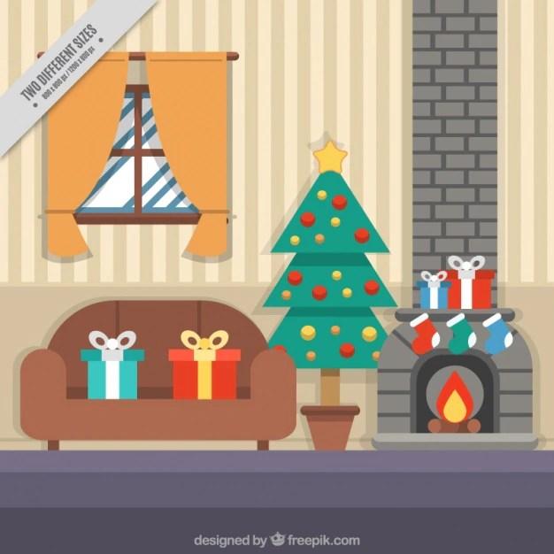 Woonkamer achtergrond met Kerst elementen Vector  Gratis
