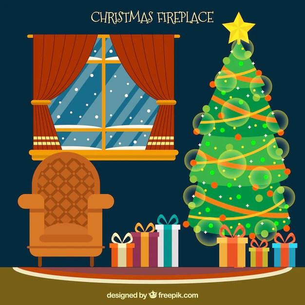Woonkamer achtergrond met kerstboom Vector  Gratis Download