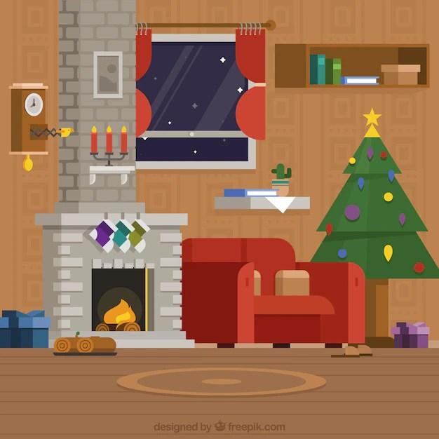 Woonkamer met kerst decoratie en open haard Vector