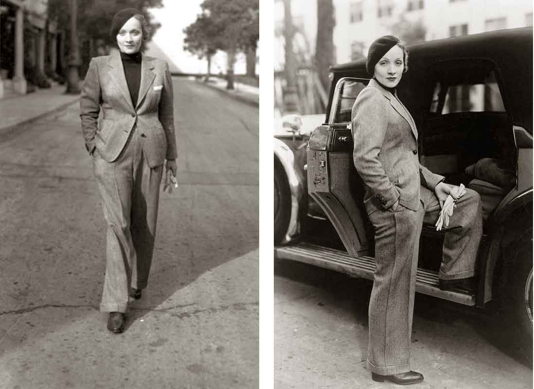 Marlene Dietrich wearing a Chanel suit. Photo linked from the best fashion history website out there, Glamourdaze.com.