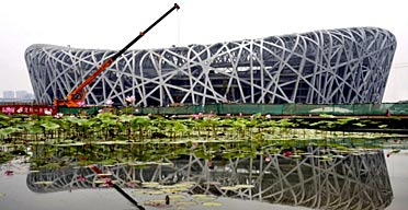 The Chinese National Olympic Stadium, also known as the Bird's Nest, designed by Ai Weiwei