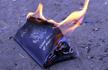 The burning of an US passport.