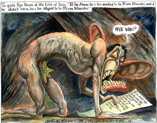 Blair's lies on Iraq war WMD, cartoon by Martin Rowson