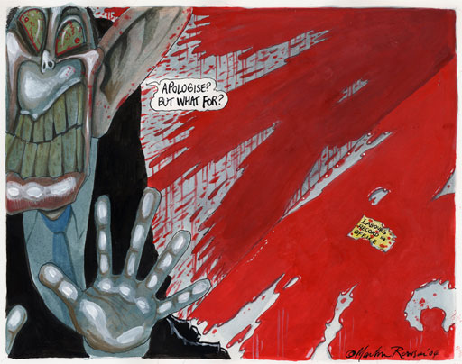 Blair and the Iraq war, cartoon by Martin Rowson