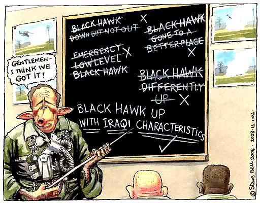 Bush and Iraq war, cartoon by Steve Bell