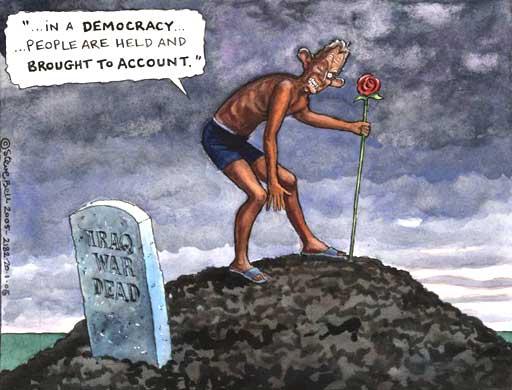 Tony Blair and Iraq war dead, cartoon by Steve Bell
