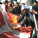 Palestinian students burn a Danish flag