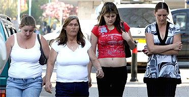 (L to R) Zara Care, Carole Olver, Danielle Olver, and Ferenza Olver outside Plymouth crown court in Devon