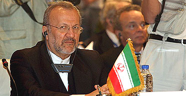 The Iranian foreign minister, Manouchehr Mottaki, attends the Sharm el-Sheikh conference on Iraq