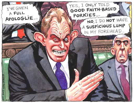 Tony Blair and his lies, cartoon