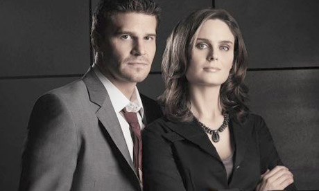 David Boreanaz and Emily Deschanel in Bones -- Image via guardian.co.uk