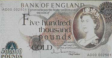 Forged £500,000 bank notes