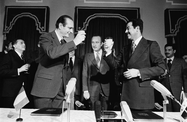 Chirac toasting his Saddam friend
